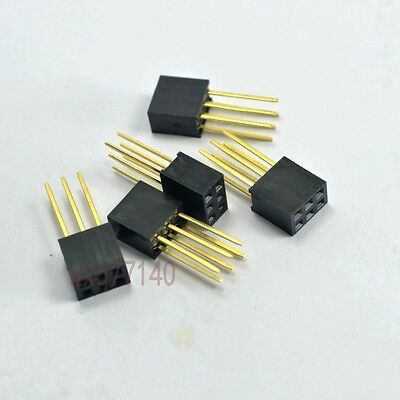 10pcs 2.54mm 2x3 6 pin Double Row Female stackable Straight Header socket Strip