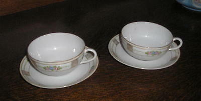 Pair of Beautiful 100 year-old Nippon cup and saucer sets