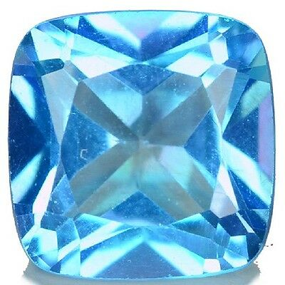 NATURAL REMARKABLE BLUE TOPAZ LOOSE GEMSTONE (8 x 7.9 mm) CUSHION-CUT