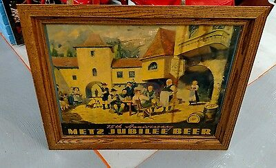 Vintage Rare Metz Beer Sign !! Direct from the Brewery! 1930s 75th Jubilee Omaha