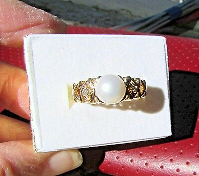 14 K Gold Imperial Pearl Ring W/ Diamonds Lattice Setting Size 7 June's Birthday