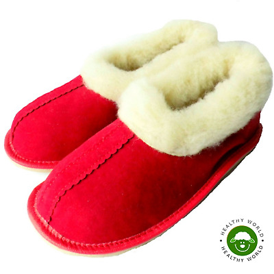 Women's Shoes, REAL SHEEP  WOOL Slippers, Handmade, Hard Sole, Red