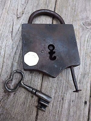 Antique Large Padlock with one key, working order, unique shape, rare, collector