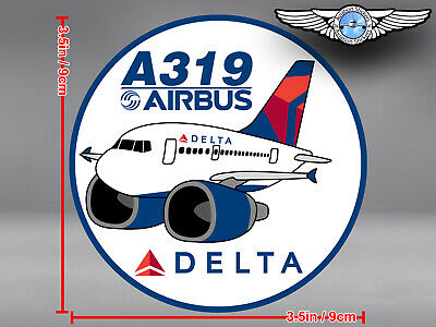 ROUND DELTA AIR LINES PUDGY AIRBUS A319 DECAL / STICKER 3.5 x 3.5 in / 9 x 9 cm