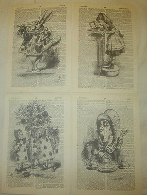 Alice in Wonderland set of 4 vintage dictionary page art prints gift presents