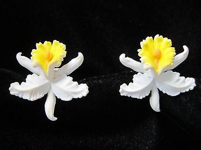 Dainty White Yellow Orchid Earrings- Plastic-Peach Color Throats-Clip-Vintage