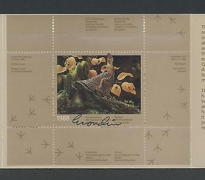 QUEBEC WILDLIFE SIGNED MINI SHEET 1988 QW1d RUFFED GROUSE BY JEAN LUC GRONDIN