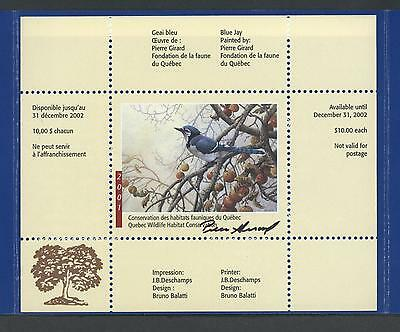 QUEBEC WILDLIFE SIGNED MINI SHEET 2001 QW14d BLUE JAY BY PIERRE GIRARD
