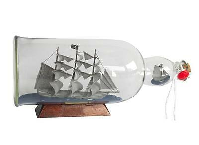 """11"""" Wooden """"Flying Dutchman"""" Model PIRATE Ship In A Glass Bottle Assembled"""