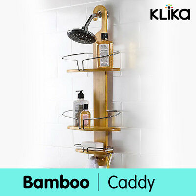 New Bathroom Bamboo Bath Caddy Shower Holder Tray Organizer Shelf