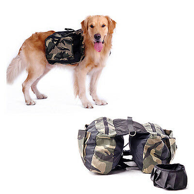 Dog Pet Backpack Saddle Bag Camping Hiking Outdoor Travel + Foldable Water Bowl