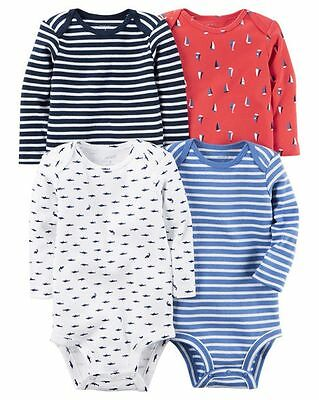 New Carter's 4 Pack Boy Bodysuits NWT Size NB 3 6 9 12 24 Long Sleeve Nautical