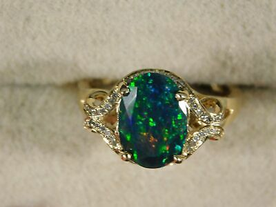 14k Yellow Gold 11x8MM Harlequin Faceted Black Opal & Diamond Ring Free Sizing