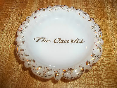 "OLD ""The Ozarks"" 22 KT GOLD INLAY - MILK GLASS ASHTRAY made by NOR-SO, Camden"