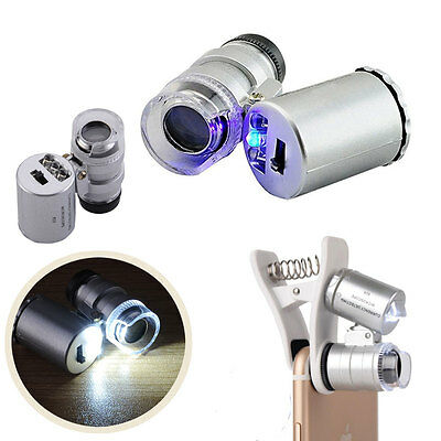 60X Watch Jellery Magnifier Jeweler Eye Loupe with LED & Fluorescence Lights