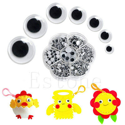 700Pcs/Box 7 Sizes DIY Round Self-adhesive Wiggly Googly Eyes For Cute Doll Toy