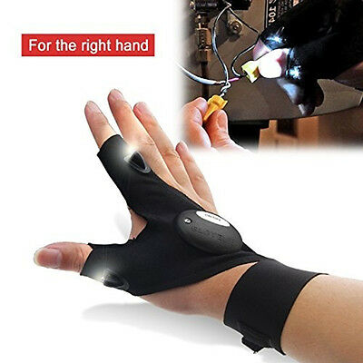 Magic Strap Fingerless Thump Finger Cotton Gloves with Hand Free LED Flashlights