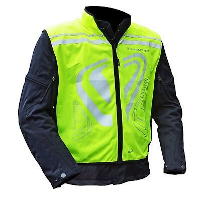 TwoZero Verso Motorcycle Bike Motobike Cycle Gilet Hi Viz Yellow Reflective Logo