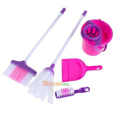 5Pcs Fun Pretend Cleaning Play Set Kids Girls Housekeeping Pink Educational Toy