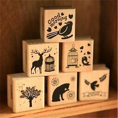 Sweet 6 Pattern Wooden Wood Rubber Stamp Stamper Seal Craft Diary 1PC
