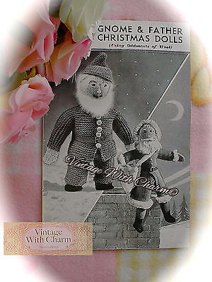 1940s Toy Knitting Pattern. Instructions To Make Father Christmas Santa & Gnome