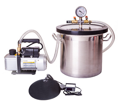 8 litre Vacuum Degassing Chamber kit with pump & heat mat options - extraction