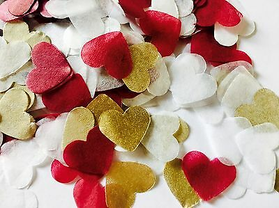Burgundy red, gold & white heart wedding confetti - party table decorations
