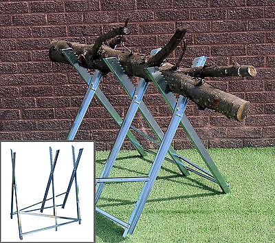 150kg METAL SAW HORSE STAND FOLDING WORK BENCH HEAVY DUTY CHAIN SAW LOGS WOOD
