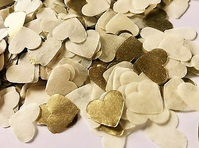 Ivory cream & gold  heart wedding confetti - party table decorations