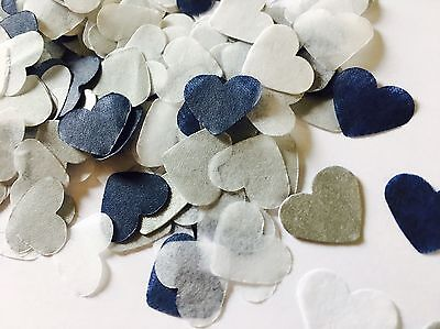 Navy blue, silver & white heart wedding confetti - party table decorations