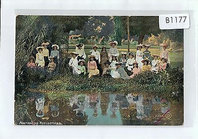 B1177cgt People Australian Reflections Tinted Valentines vintage postcard