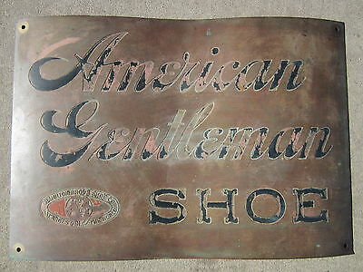 Orig 1800s AMERICAN GENTLEMAN SHOE Sign Hamilton Brown Shoe Co Largest in World