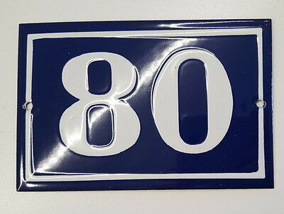 ANTIQUE HOUSE NUMBER SIGN door gate FRENCH PLATE PLAQUE Enamel steel metal 80