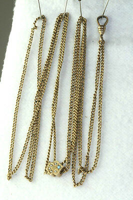 Victorian Antique 14K Gold Opal & Pearl Slide On Gold Filled Ladies Watch Chain