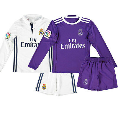 Children's Real Madrid 2016/17 Soccer Long Sleeve Jersey Football Kids Clothes
