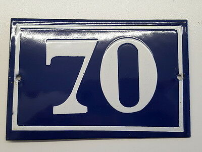 ANTIQUE HOUSE NUMBER SIGN door gate FRENCH PLATE PLAQUE Enamel steel metal 70