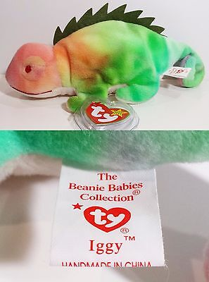 "RARE! TY Beanie Babies ""IGGY (ODDITY!! Should be RAINBOW!!)"" CHAMELEON - MINT!!"