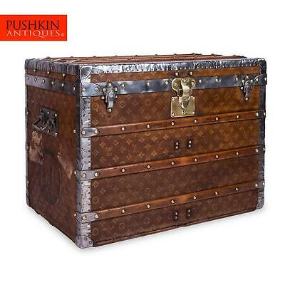 ANTIQUE 20thC LOUIS VUITTON WOVEN CANVAS TISSE STEAMER TRUNK c.1900