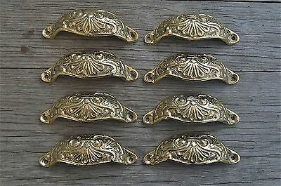8 brass Victorian cup drawer handle dresser draw pull handle c/w screws 2003