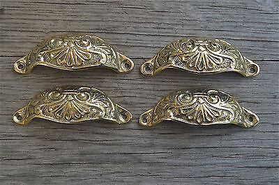 4 brass Victorian cup drawer handle dresser draw pull handle c/w screws 2003