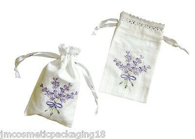 Small Lavender Herb Bags Country-Style Hand Embroidered Cotton Drawstring Pouch