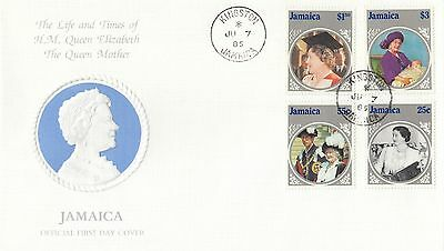 (95138) Jamaica FDC Queen Mother Life & Times Kingston 7 June 1985