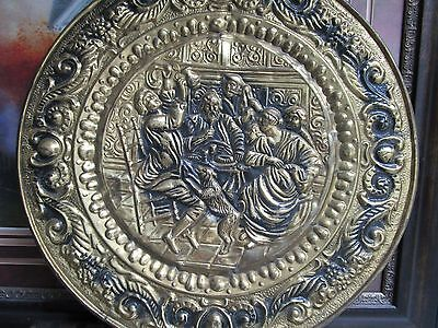 """Hammered Brass Art 2 Large Plates made in England, possible Lombar C&A 24""""[*]"""