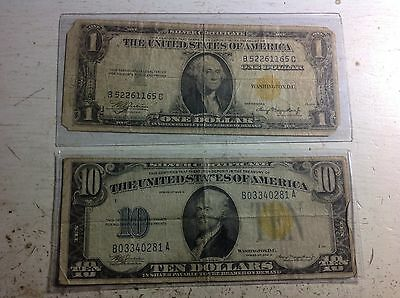 1934 $10 and $1 North Africa War Notes, Silver Certificates #5