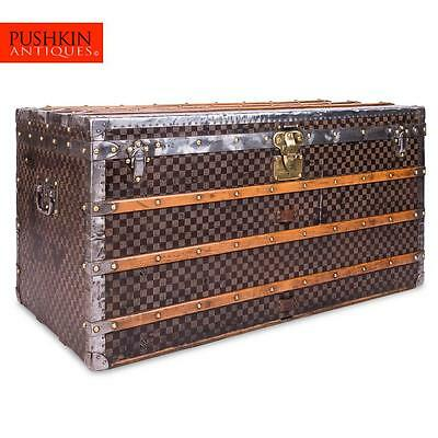 ANTIQUE 19thC LOUIS VUITTON DAMIER PATTERN STEAMER TRUNK c.1890