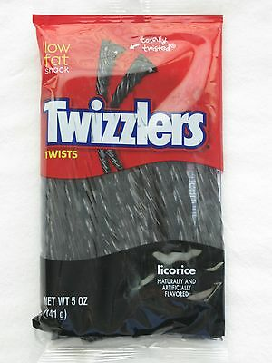 American Candy 5oz Black Licorice Twizzlers Twists Chewy BN