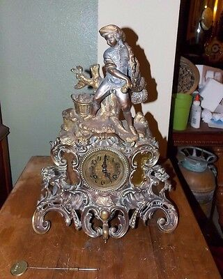 French Bronze Mantel Clock Figural Boy With Fishing Net 19th Cent Japy Freres