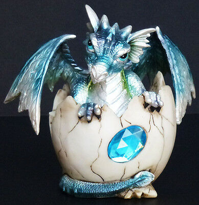 "AQUAMARINE MARCH  Birthstone Dragon in Egg Shell  4""  Figure Statue"