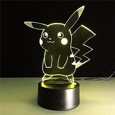 7 Color Change 3D Pokemon Go Pikachu Touch Switch Table Lamp LED Night Light