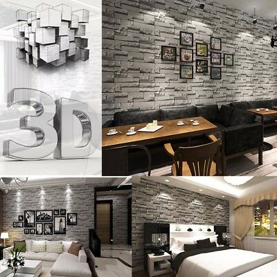 3D Wallpaper Bedroom Mural Roll Stone Brick EFFECT Art Wall Background Textured